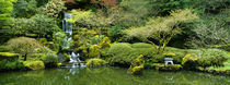 Waterfall in a garden, Japanese Garden, Washington Park, Portland, Oregon, USA von Panoramic Images