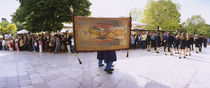 Person carrying a banner in an Easter procession, Corfu, Ionian Islands, Greece von Panoramic Images