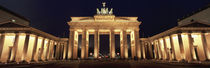 Low angle view of a gate lit up at night, Brandenburg Gate, Berlin, Germany by Panoramic Images