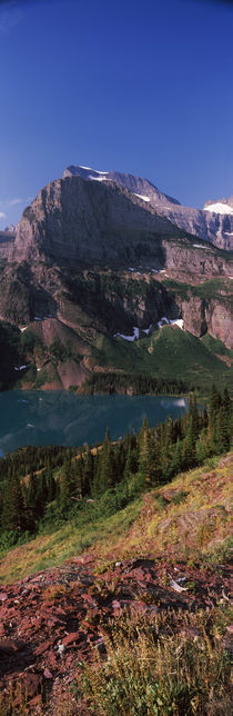 Lake near a mountain, US Glacier National Park, Montana, USA by Panoramic Images