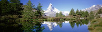 Reflection of trees and mountain in a lake, Matterhorn, Switzerland by Panoramic Images