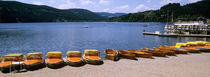Row of boats in a dock, Titisee, Schwarzwald, Germany von Panoramic Images