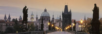 Lit Up Bridge At Dusk, Charles Bridge, Prague, Czech Republic von Panoramic Images