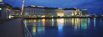 Buildings lit up at night, Geneva, Switzerland von Panoramic Images