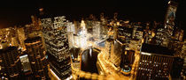 USA, Illinois, Chicago, Chicago River, High angle view of the city at night by Panoramic Images