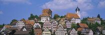 Panorama Print - Gebäude auf einem Hügel Schwarzwald, Deutschland von Panoramic Images