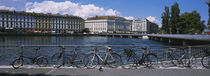 Buildings at the waterfront, Rhone River, Geneva, Switzerland by Panoramic Images