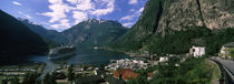 Town at the coast, Geiranger Fjord, Geiranger, More og Romsdal, Norway von Panoramic Images