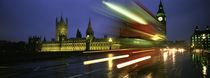 England, London, Houses of Parliament, Traffic moving in the night von Panoramic Images