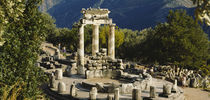 High angle view of a monument, Tholos De Marmaria, Delphi, Greece by Panoramic Images
