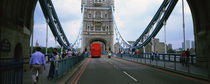 Bus on a bridge, London Bridge, London, England by Panoramic Images