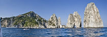 Rock formations in the sea, Faraglioni, Capri, Naples, Campania, Italy by Panoramic Images