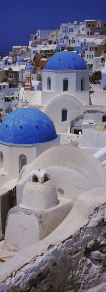 High angle view of a church, Oia, Santorini, Greece by Panoramic Images