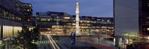 Buildings lit up at night, Sergels Torg, Stockholm, Sweden by Panoramic Images