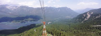 Gondola lift over a forest, Zugspitze Mountain, Lake Eibsee, Bavaria, Germany by Panoramic Images