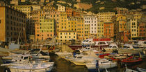 Boats at the harbor, Camogli, Liguria, Italy von Panoramic Images