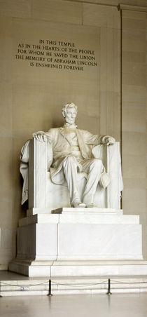 Abraham Lincoln's Statue in a memorial, Lincoln Memorial, Washington DC, USA by Panoramic Images