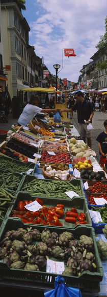 Group of people in a street market, Morges, Switzerland by Panoramic Images