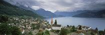 City at the lakeside, Lake Lucerne, Weggis, Lucerne Canton, Switzerland von Panoramic Images