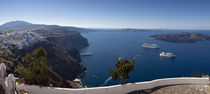 Cruise ships in the sea, Fira, Santorini, Cyclades Islands, Greece by Panoramic Images