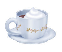 Hot chocolate cup with cream by William Rossin