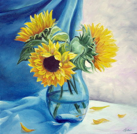 sunflowers in vase sonnenblumen in der vase painting art prints and posters by apostolescu. Black Bedroom Furniture Sets. Home Design Ideas