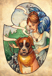 Fairytale with Boxer by Myra Brodsky