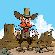 Cartoon cowboy in the desert von Anton  Brand