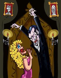 Cartoon Dracula threatening a blonde woman von Anton  Brand