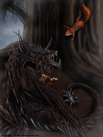 Nidhogg and Ratatosk by Rushelle Kucala
