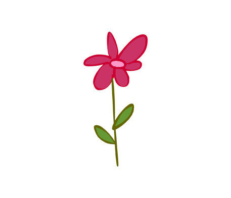 Cute pink flower drawing art prints and posters by for How to draw a cute flower