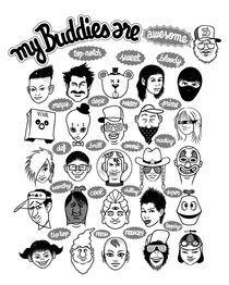 My-buddies-b-w-artflakes