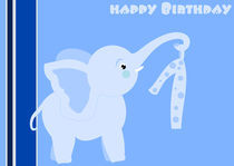 1st Birthday - little blue elephant  by deboracilli