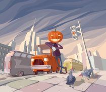 Jack O' Lantern and his orange car. von Oleksiy Tsuper