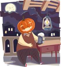 Jack O' Lantern with a pint of beer.  von Oleksiy Tsuper