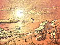 Sunset kite-surfing.  by Oleksiy Tsuper