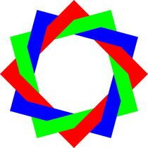 red green blue dodecagram squares von Chandler Klebs