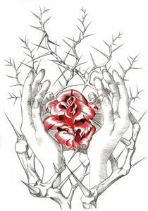 hand and rose thornbush von Nicole Schmidt