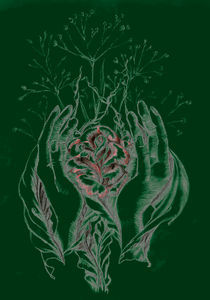 rose and hands green by Nicole Schmidt