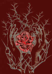 rose and hands red by Nicole Schmidt