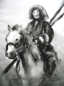 Mongolische Reiterin von dunja54