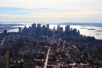 New York - Manhatten Skyline Silhouette - Birdview - NYC Vogelperspektive von temponaut
