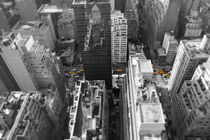 New York City - NY Taxi Miniature Top View 2nd Ave - Yellow Black And White NYC by temponaut