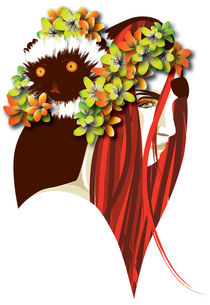 Girl with lemur and flowers - vector art portrait von The Children of San Pippo