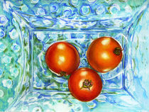 Mom's Blue Hobnail with Tomatoes,by Alma Lee von Alma  Lee