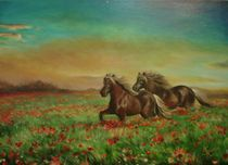 Horses in the field with poppies / Pferde im Feld mit Mohnblumen by Apostolescu  Sorin
