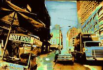 New York Hot dog's street by blackscreen