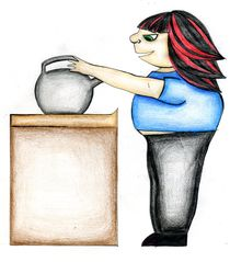 Angela putting on the Kettle by Nadja Asghar