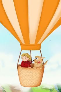 Heißluftballon Mädchen und Hund by Michaela Heimlich