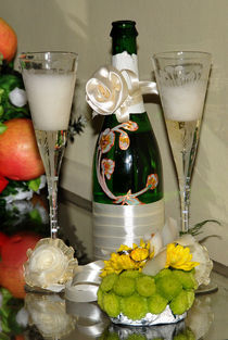 wedding flutes, rings and champagne by Siyana Avdzhieva
